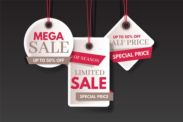 Конец года продажи сбережений красочных наклеек Бесплатные векторы