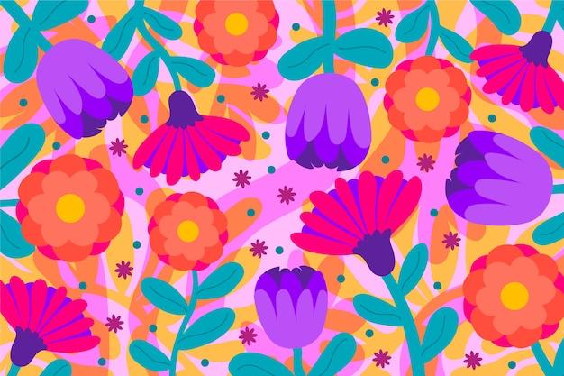 カラフルな花のエキゾチックな花の背景 無料ベクター