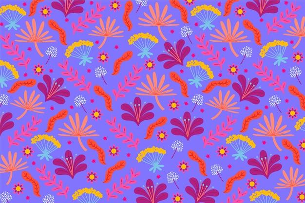 花と葉のカラフルな頭が変な印刷の背景 無料ベクター