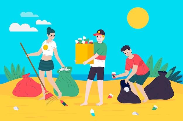 若い人たちがビーチを掃除 無料ベクター