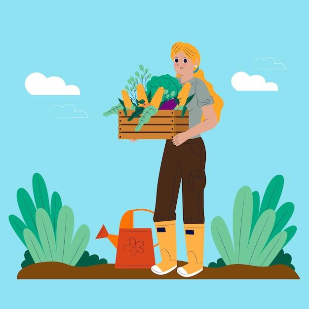 Концепция выращивания органических овощей Бесплатные векторы