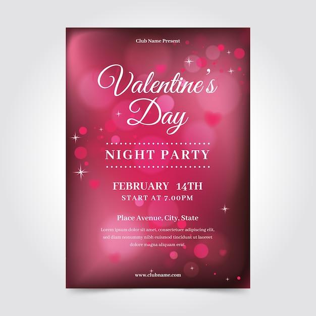ぼやけたバレンタインのチラシポスターテンプレート 無料ベクター
