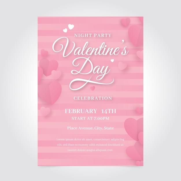 ロマンチックなバレンタインパーティーポスターテンプレート 無料ベクター