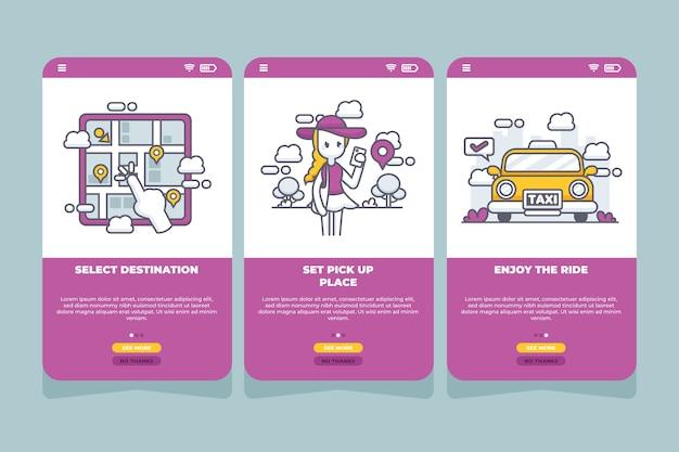 Такси сервис приложение для мобильных телефонов Бесплатные векторы