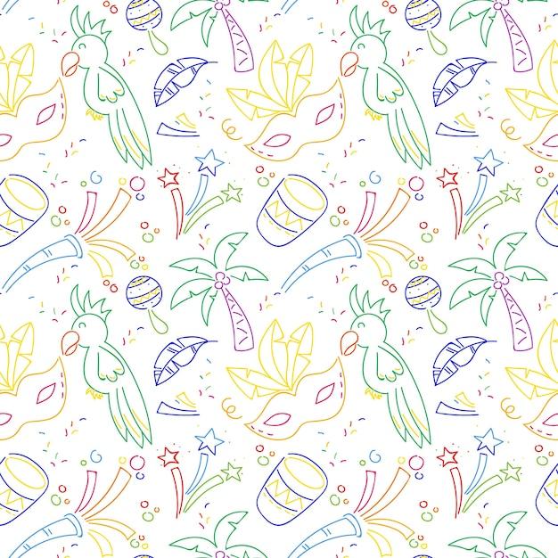 Красочные рисованной бразильский карнавал шаблон Бесплатные векторы