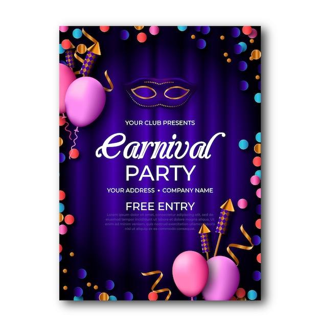 Реалистичный плакат карнавальной вечеринки Бесплатные векторы