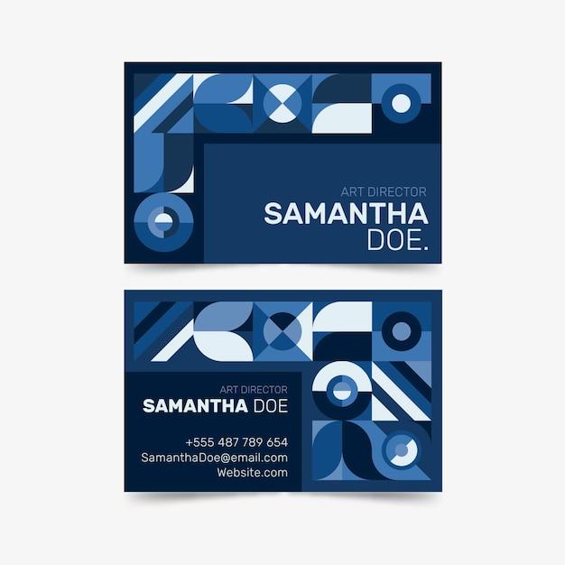 Абстрактный классический синий дизайн для визитки Бесплатные векторы