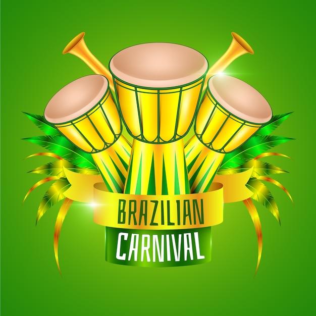Реалистичный бразильский карнавал с барабанами Бесплатные векторы