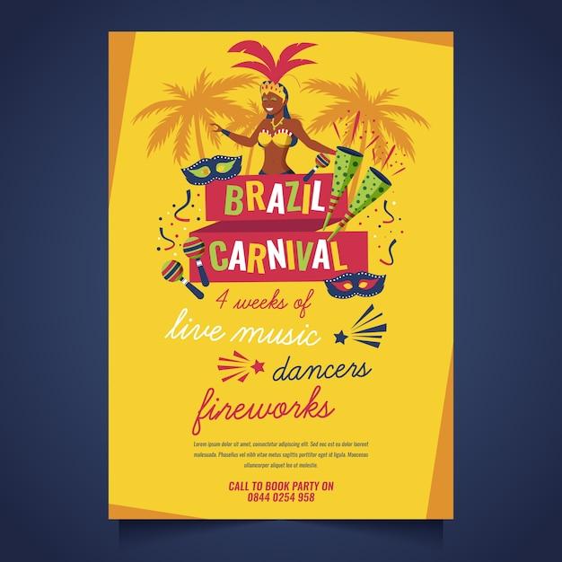 Плоский дизайн бразильский карнавал постер шаблон темы Бесплатные векторы