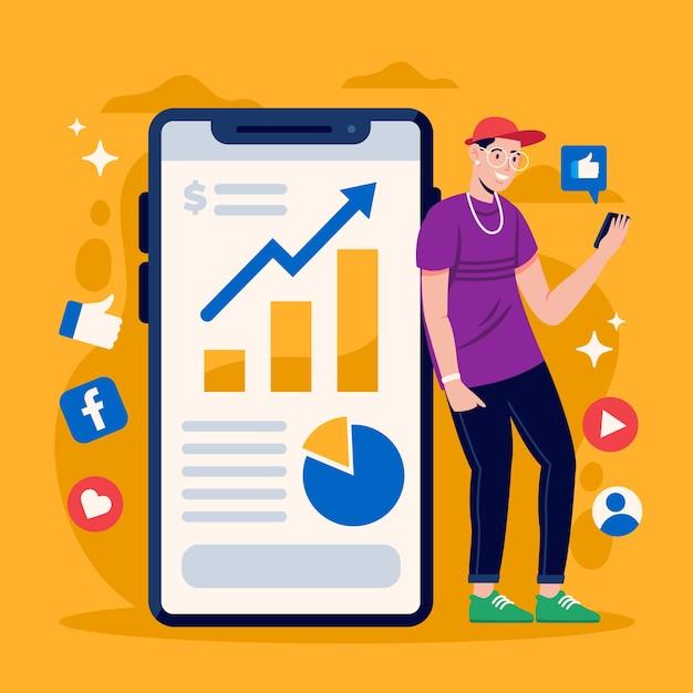Маркетинг в социальных сетях по дизайну телефонов Бесплатные векторы