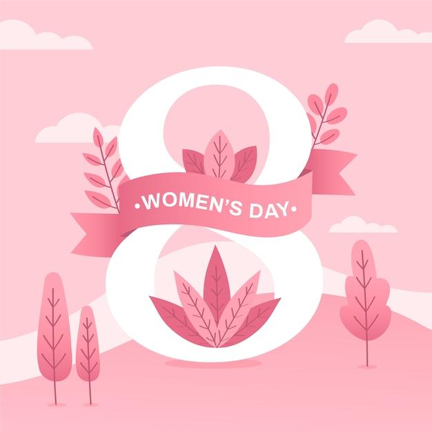 ピンクの木と葉を持つ女性の日 無料ベクター