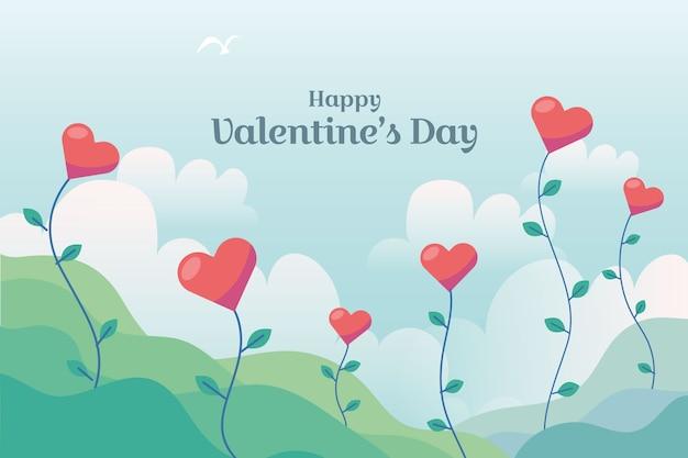 手描きのバレンタインデーの壁紙のテーマ 無料ベクター