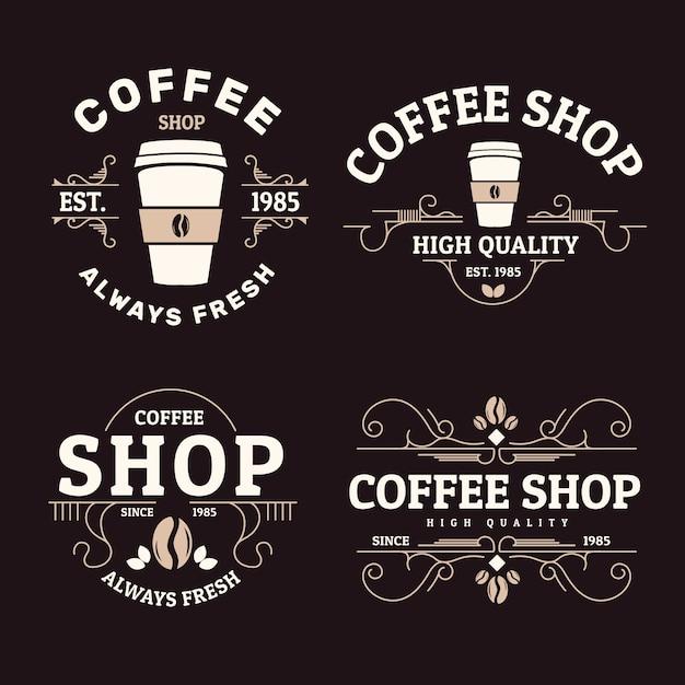 コーヒーショップのロゴのレトロなコレクション 無料ベクター