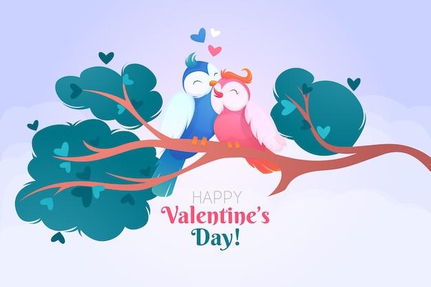Ручной обращается день святого валентина фон с птицами Бесплатные векторы
