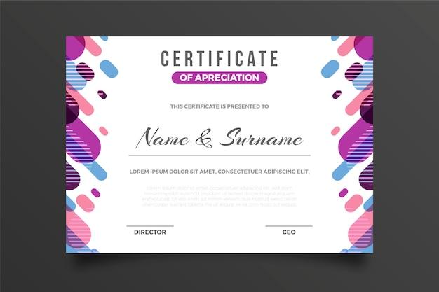 Креативный сертификат благодарности награду мемфис эффект Бесплатные векторы