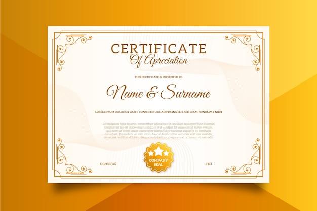 Изысканный шаблон сертификата Бесплатные векторы