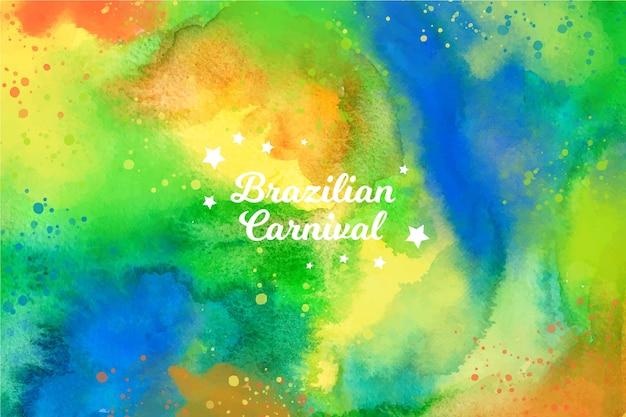 鮮やかな色の水彩ブラジルカーニバル 無料ベクター