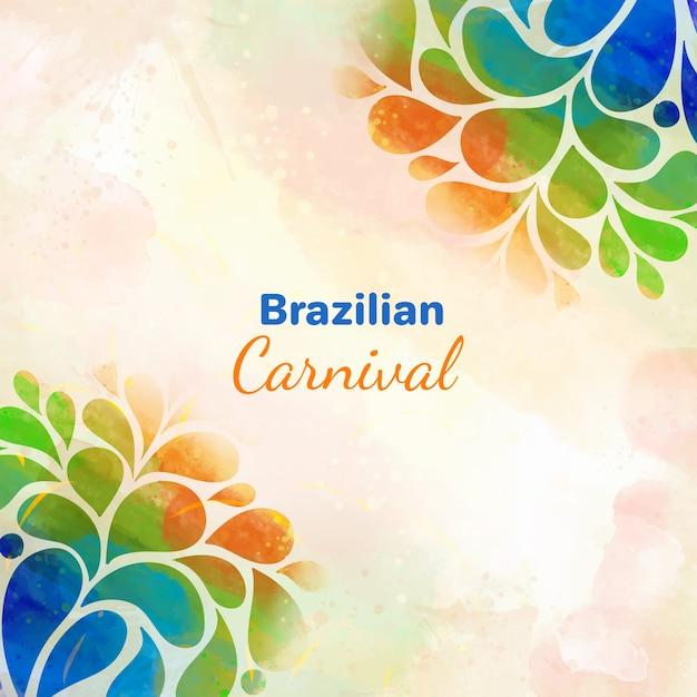 ブラジルのカーニバル背景水彩デザイン 無料ベクター