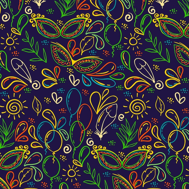Красочные рисованной бразильский карнавал Бесплатные векторы