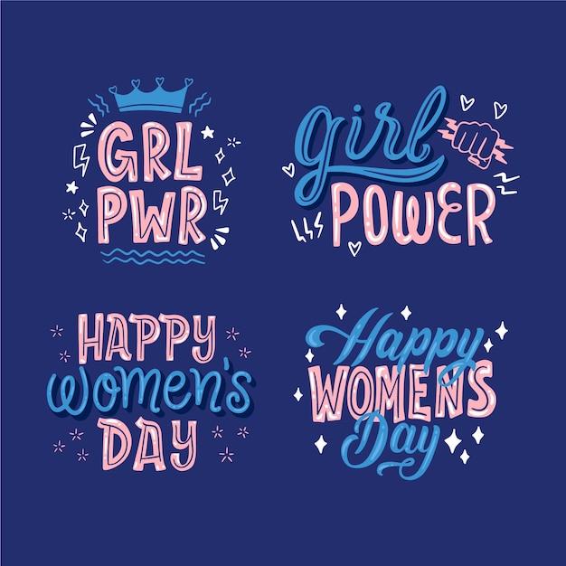 幸せな女性の日レタリングバッジコレクション 無料ベクター