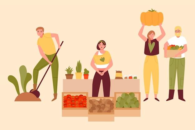 Концепция органического земледелия Бесплатные векторы
