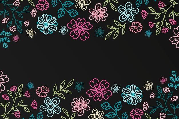 手描きの花の背景 無料ベクター