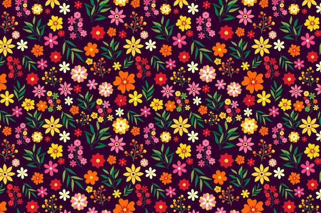 Красочный цветочный принт фон Бесплатные векторы