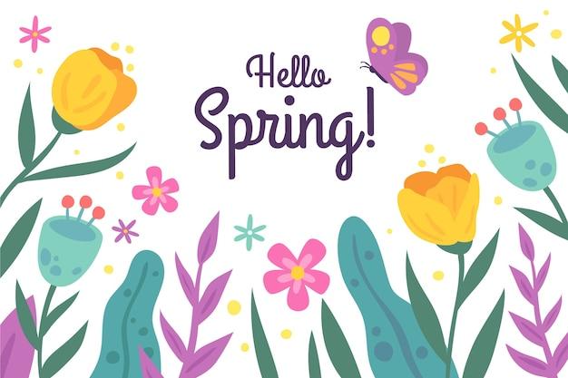 手描きのチューリップと蝶と春の背景 無料ベクター