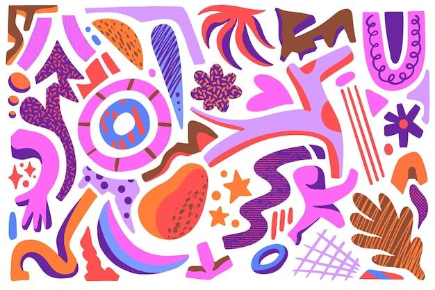 Ручной обращается абстрактные органические формы фон Бесплатные векторы