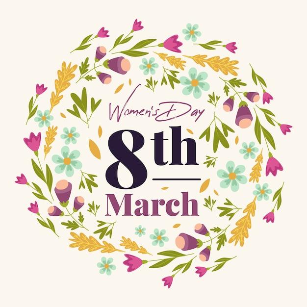花を持つ女性の日の概念 無料ベクター