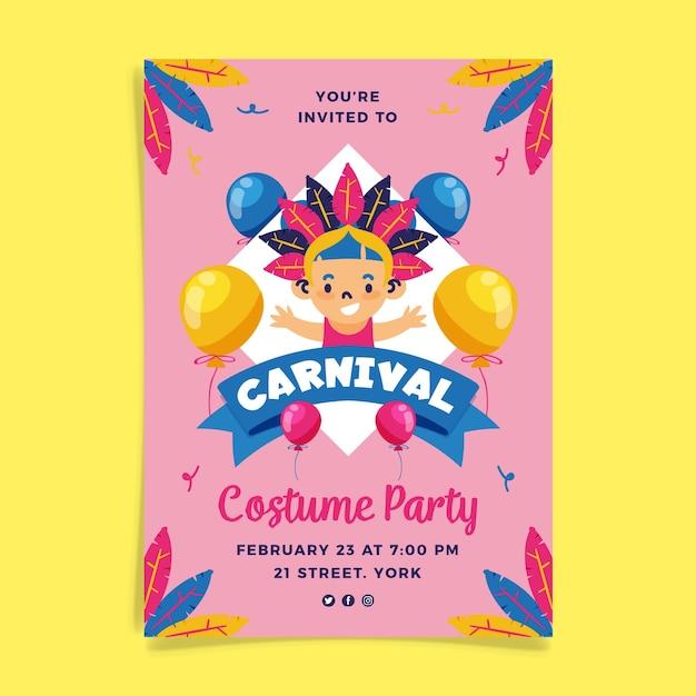 Нарисованный рукой шаблон плаката карнавальной вечеринки Бесплатные векторы