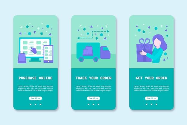 オンライン購入用のオンボーディングアプリの設計 無料ベクター