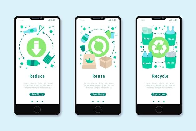 リサイクルのためのオンボーディングアプリの設計 無料ベクター