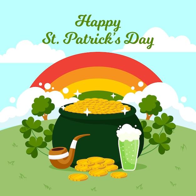 聖パトリックの日の虹とカラフルな風景 無料ベクター