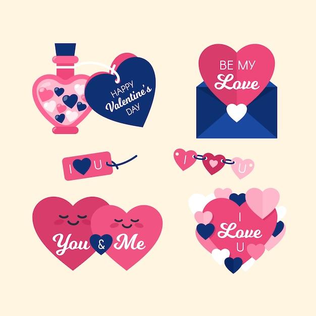 かわいいピンクのハートバレンタインラベルデザインコレクション 無料ベクター