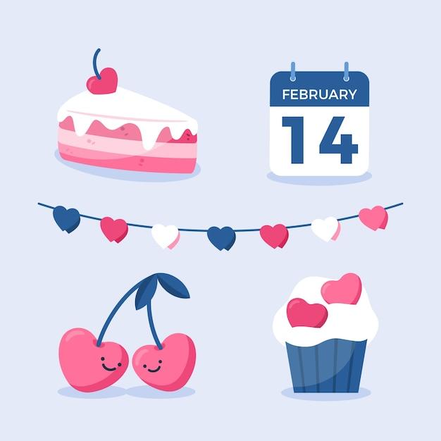 カレンダーとお菓子のバレンタイン要素コレクション 無料ベクター
