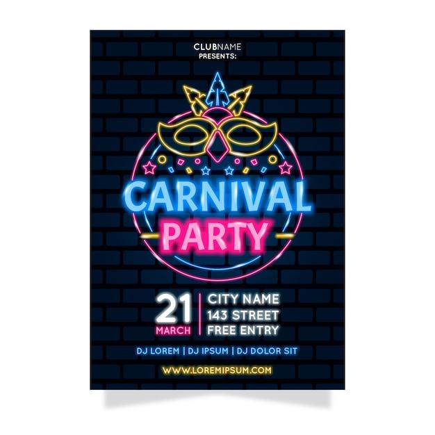 Неоновая карнавальная вечеринка с осветляющей маской Бесплатные векторы