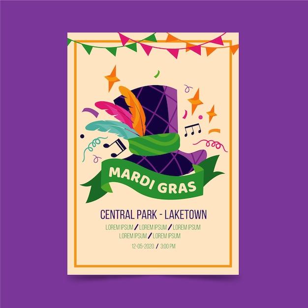 Мерди гра событие с красочными перьями и плакат с музыкальными нотами Бесплатные векторы