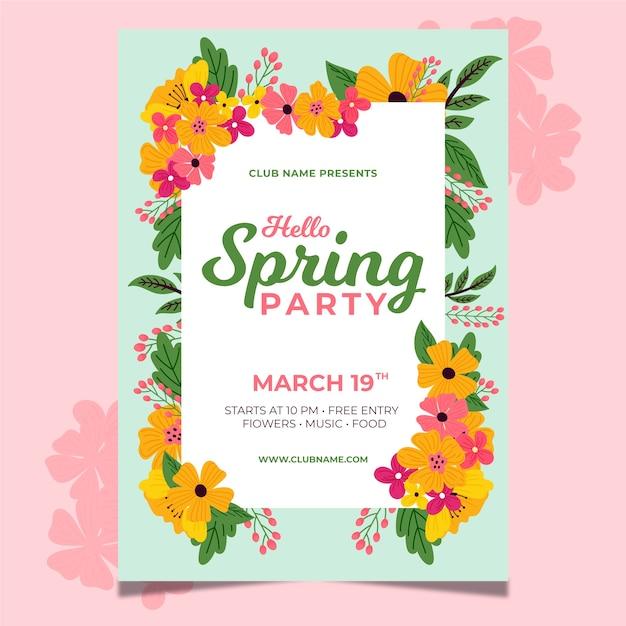 手描きの春パーティーフライヤーテンプレートテーマ 無料ベクター