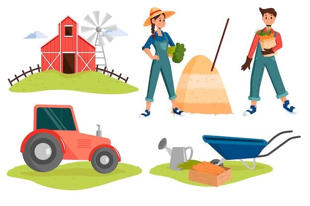 Иллюстрация с концепцией сельского хозяйства Бесплатные векторы