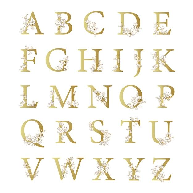 Алфавит с элегантными цветами Бесплатные векторы