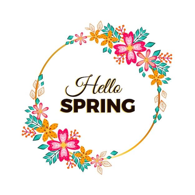 春の花のフレーム 無料ベクター