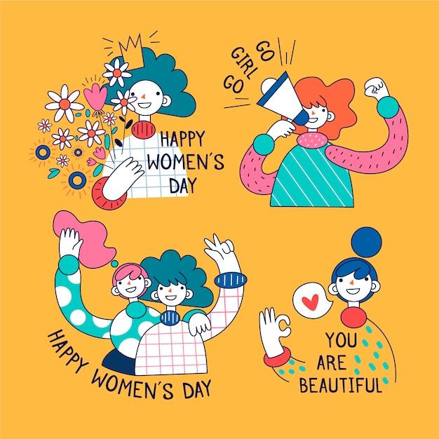 女性の日バッジコレクションテーマ 無料ベクター