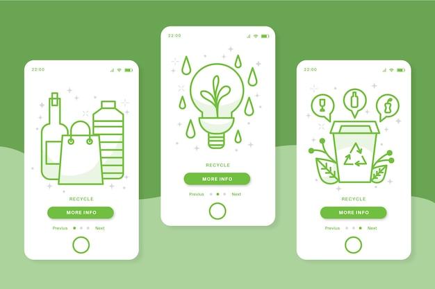 オンボーディングアプリの画面を緑色でリサイクルする 無料ベクター