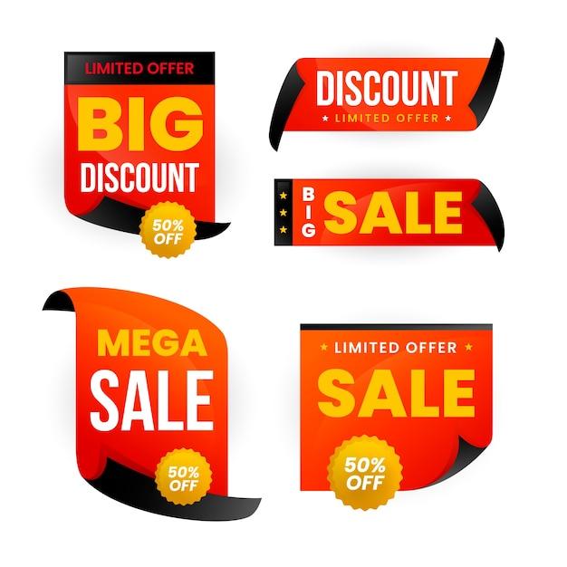 Реалистичная торговая марка в золотой и красной коллекции Бесплатные векторы