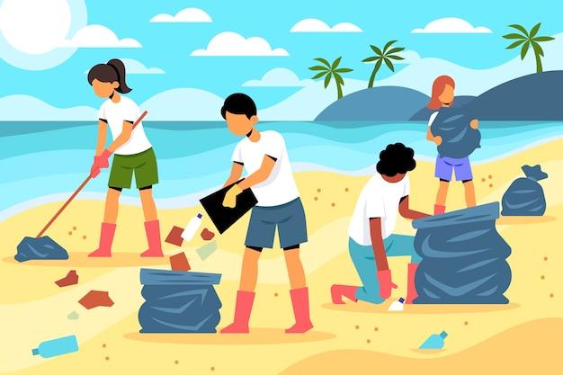 Люди чистят пляжи при дневном свете Бесплатные векторы