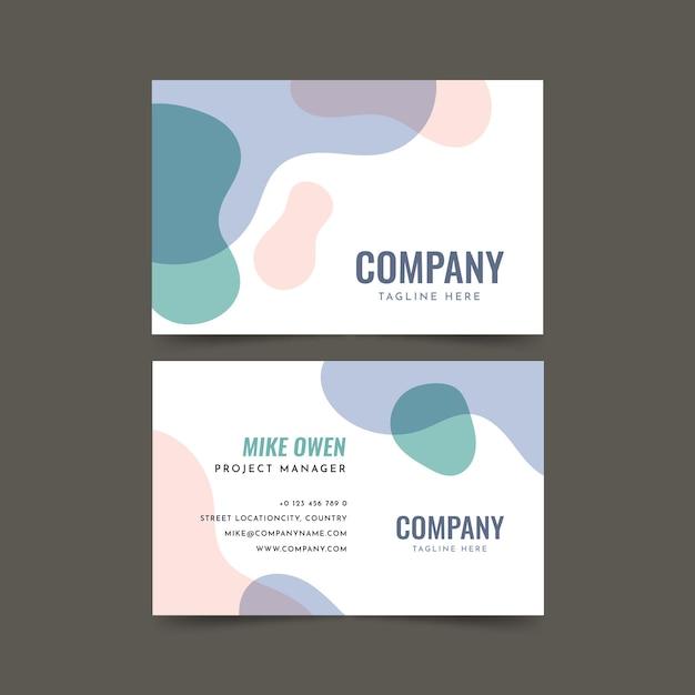 Визитная карточка компании с жидкими цветными пятнами Бесплатные векторы