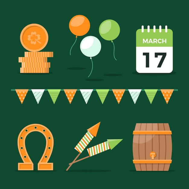 聖パトリックの日カレンダーとラッキーオブジェクトコレクション 無料ベクター