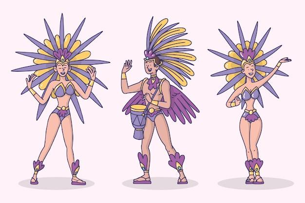 Бразильский карнавал танцовщица коллекция иллюстраций Бесплатные векторы