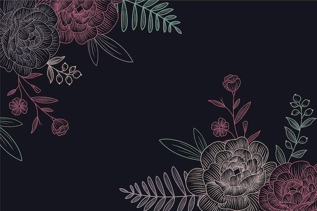 黒板背景デザインに花の図面 無料ベクター
